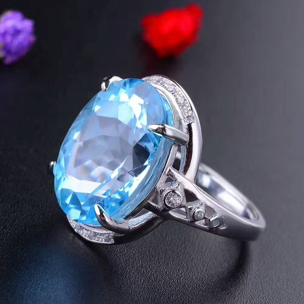 CoLife Jewelry luxurious gemstone silver ring 12 mm * 16 mm 8 ct natural topaz silver ring solid 925 solid 925 silver topaz ringCoLife Jewelry luxurious gemstone silver ring 12 mm * 16 mm 8 ct natural topaz silver ring solid 925 solid 925 silver topaz ring