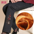 The elderly female winter clothing and cotton trousers mother warm season and thicken the elastic waist grandma pants