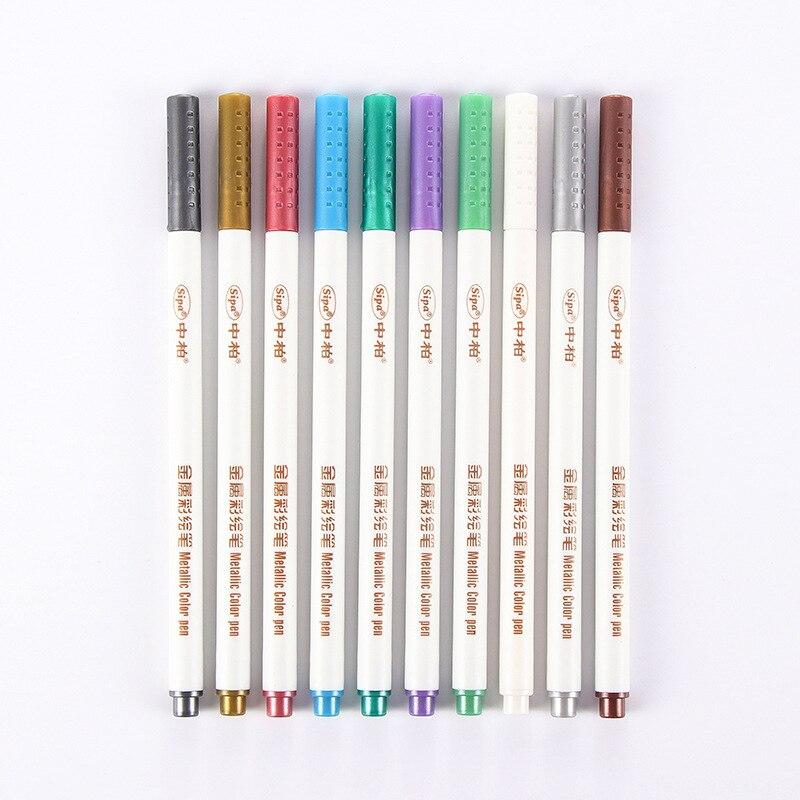 10 Pcs/Set Metallic Color Pens DIY Marker Pens For School Stationery Suppliers10 Pcs/Set Metallic Color Pens DIY Marker Pens For School Stationery Suppliers