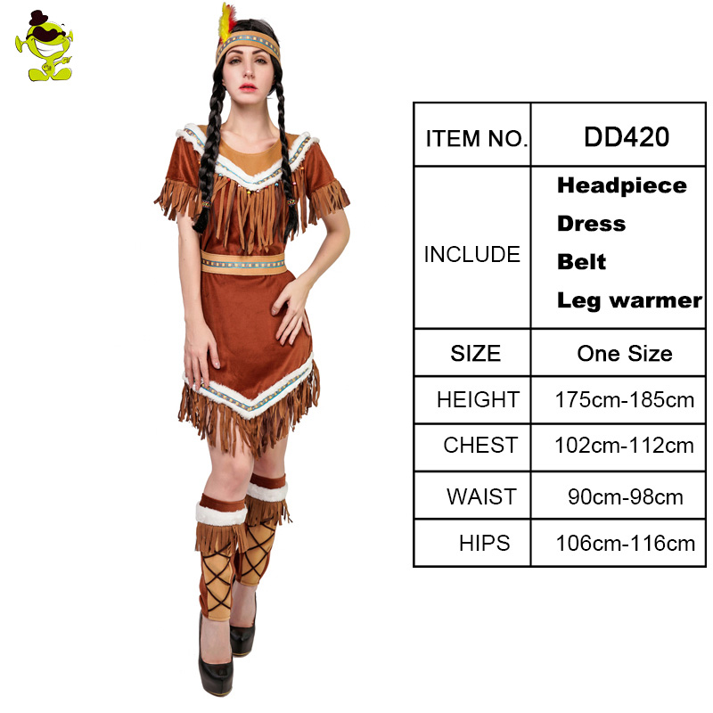 INDIAN LADY DELUXE BROWN ADULT COSTUME FOR FANCY DRESS PARTY
