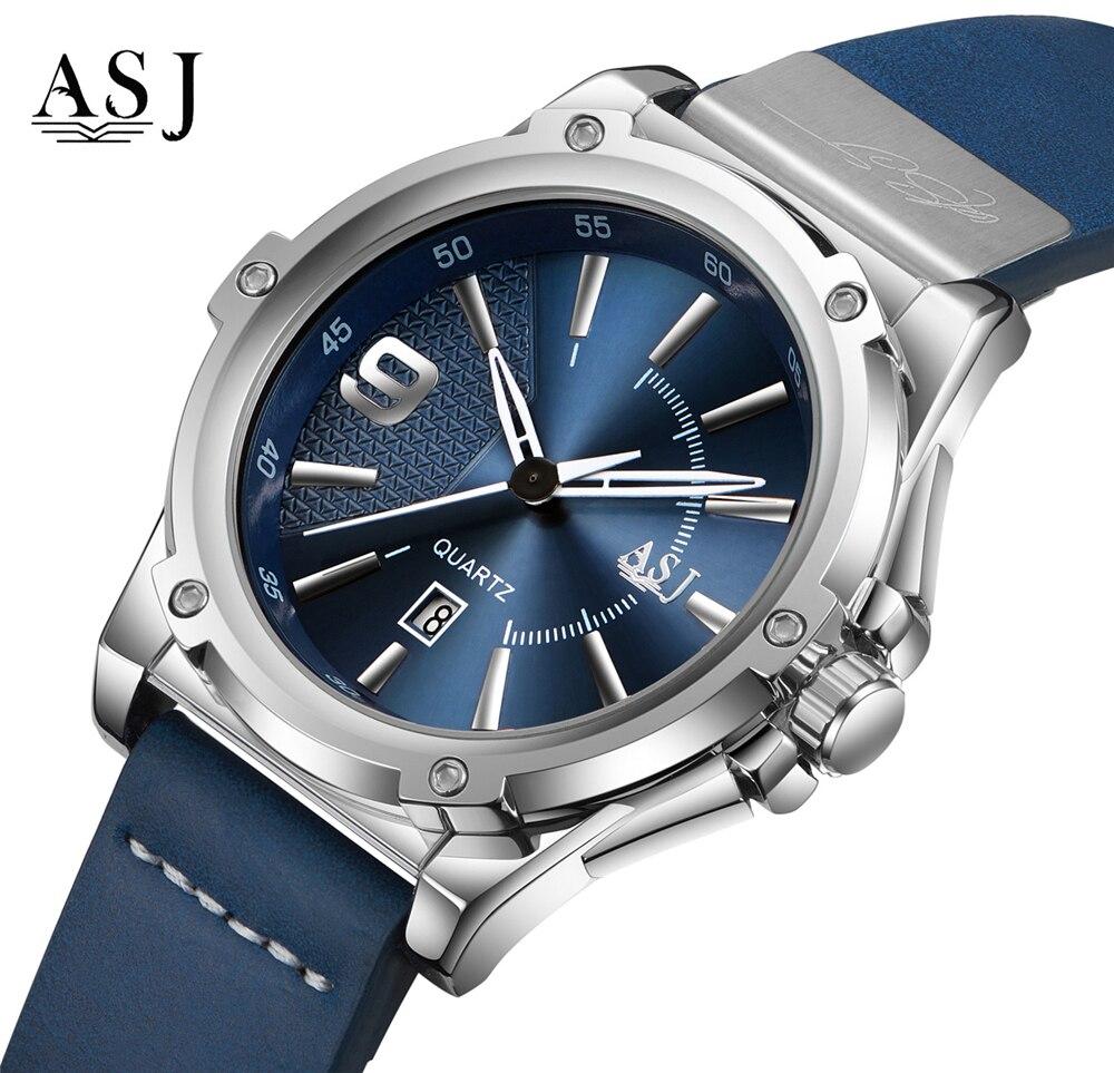 Reloje 2018 ASJ Men Watch Male Leather Automatic Date Quartz Watches Mens Luxury Brand Waterproof Sport Clock Relogio Masculino
