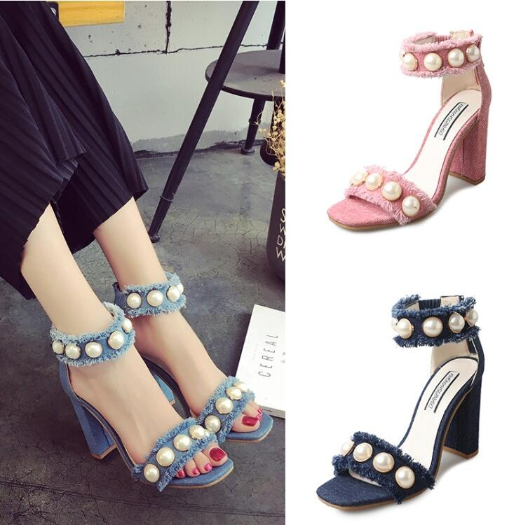 0f3a414730b107 BEANGO 2017 Summer Sandal Jeans Square High Heels Shoes Woman Pearl Denim  Party Gladiator Sandal Ankle Strap Women Sandals Mujer-in Women s Sandals  from ...