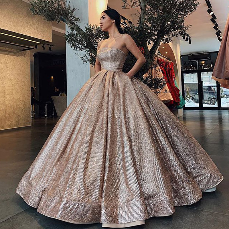 luxury Long   Evening     Dress   2019 Puffy Ball Gown Strapless Rose Gold Lebanon Arabic Style Formal Women   Evening   Gowns