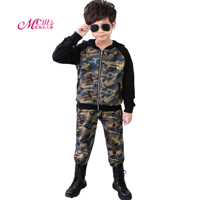2017 New Children Camouflage Tracksuit Set Hooded Coat + Pants Kids Boys Spring Autumn Clothes Sports Suit 4 6 8 10 12 13 Years spring autumn vestidos tracksuit girls sports suit kids fashion hooded sportwear children track suit clothes set casual outfit