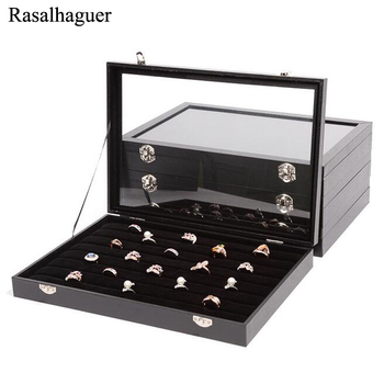 High Quality Dust-proof PU Frame Black Velvet Jewelry Box Jewellery Organizer Bracelets Storage Rings Case Necklaces Holder u7 watch holder and jewelry organizer box chic storage drawer case black high quality pu leather gift for men women ob08