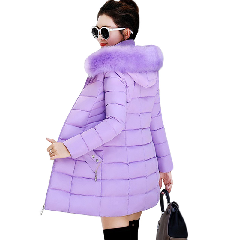 Women Winter Jackets Coats 2018 New Down cotton Hooded   Parkas   Feminina Warm Outwear Faux Fur Collar Plus Size 3XL Long Coats