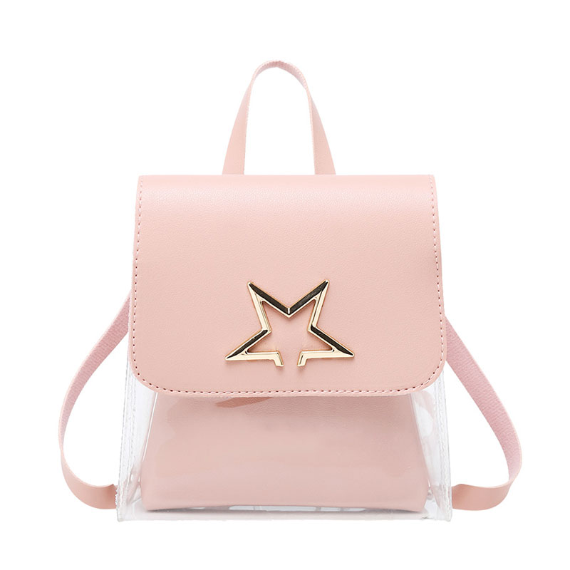 Clear Transparent Women Backpack Cute Bow Ita Bags For School Mini Pink Black Schoolbags For Girls Fashion Bookbag