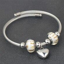 Stainless Steel Heart Charm Pattern European Bracelets