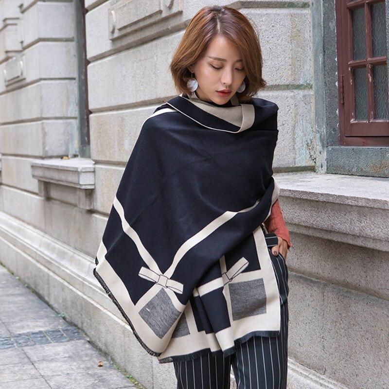 Winter   Scarf   Women 2018 Ladies Long Bowknot Print Cashmere   Scarf   Thick Warm Shawl Elegant Pashmina Brand Designer   Wraps