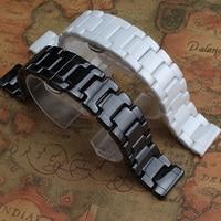TJP Mens Womens Ceramic 14mm 16mm 18mm 19mm 20mm 22mm Black White Watchband Bracelet For AR