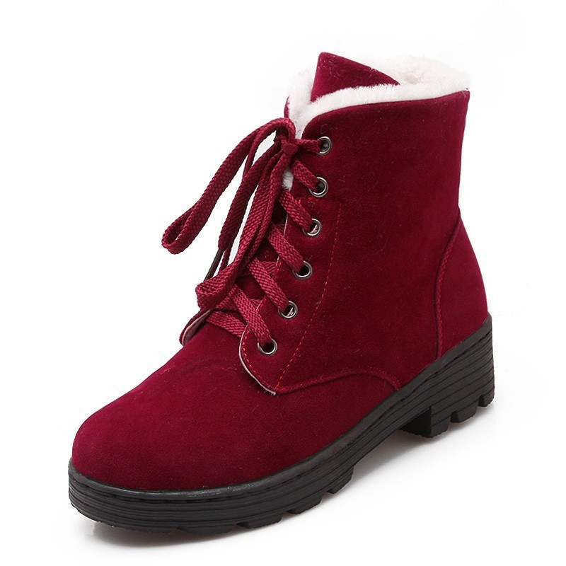 Image 2 - Lace Up Snow Boots Women Winter Short Boots Ladies Mid Square Heels A278 Fashion Warm Shoes Woman Red Black Apricot Ankle Boots-in Ankle Boots from Shoes
