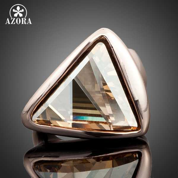 AZORA Rose Gold Color Gold Color Triangle Stellux Austrian Crystal Ring TR0015