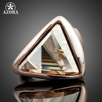 18K Real Rose Gold Plated Gold Color Triangle SWA ELEMENTS Austrian Crystal Ring FREE SHIPPING Azora