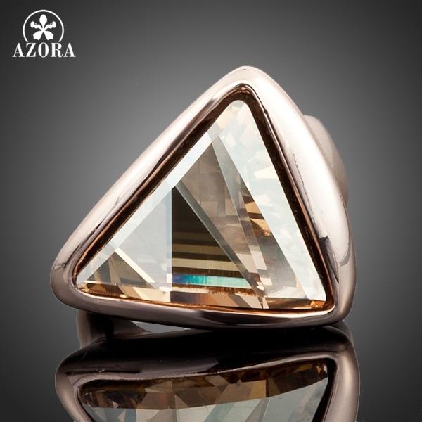 AZORA Anillo de cristal austriaco del color del oro dorado del triángulo de color dorado TR0015