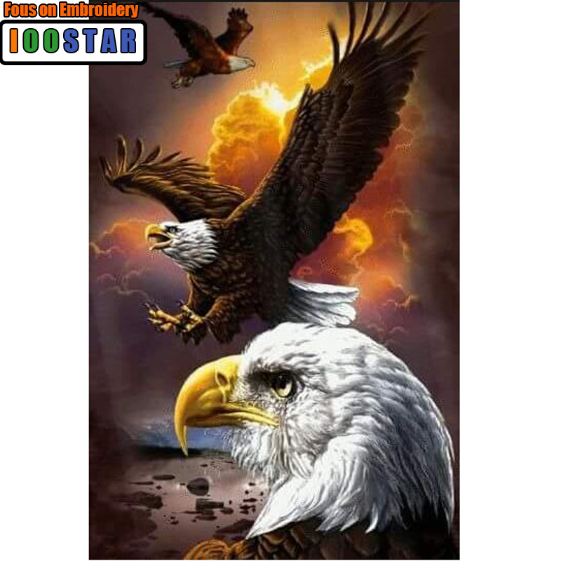5D Diy Full Round Diamond Painting Soaring Eagle Mosaics Cross-stitch Diamond Embroidery New Year Decoration Gifts