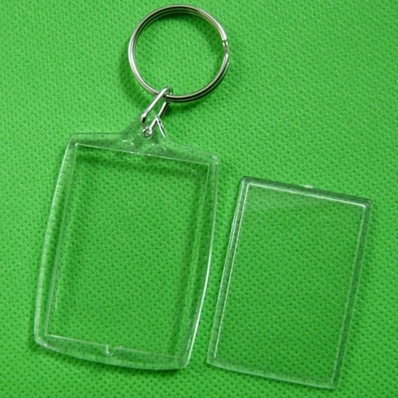 1ชิ้นคริลิคที่ว่างเปล่าพวงกุญแจแทรกรูปพลาสติกKeyringsสแควร์ที่สำคัญสี่เหลี่ยมผืนผ้าหัวใจวงกลมอุปกรณ์