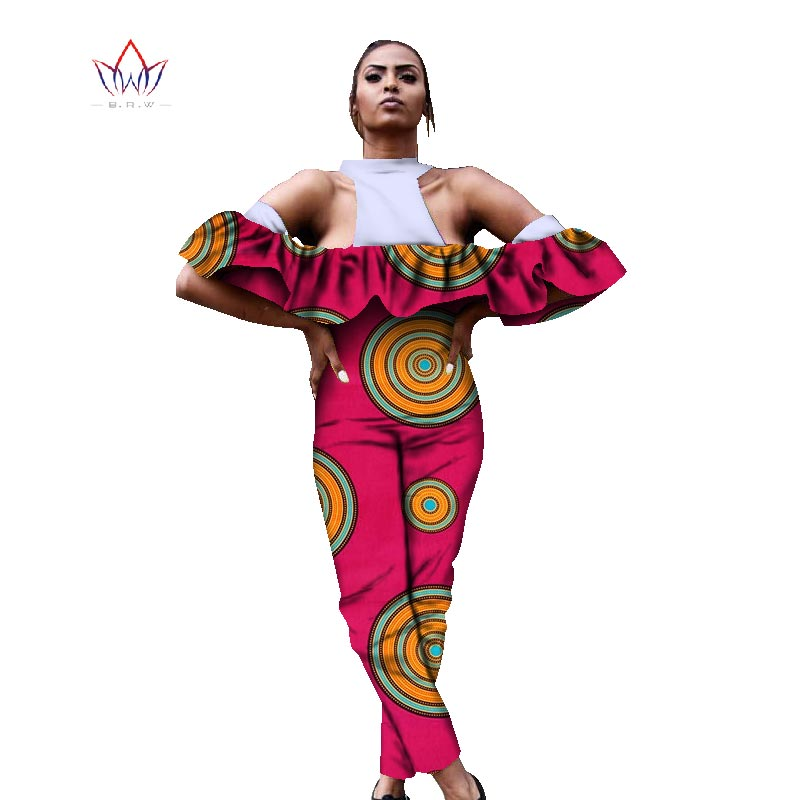 beautiful and cheap summer african women jumpersuit with print women african clothing sleeveless dashiki pant plus size WY920
