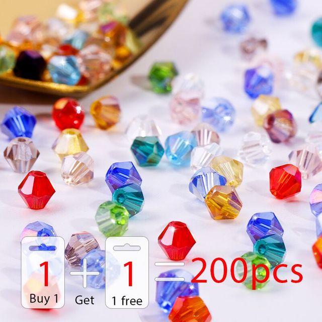 Acheter 1 et obtenir 1 total gratuit 200 pièces coloré 4mm Bicone perles de cristal perles de verre lâche perles entretoise bracelet fabrication de bijoux bricolage