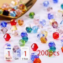 Купите 1 и получите 1 бесплатно 4 мм блестящие хрустальные бусины Bicone Beads стеклянные бусины Свободные разделительные бусины
