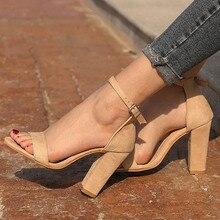 ستان القرش الصيف النساء قطيع مربع كعب الصنادل عالية الكعب مشبك حزام الإناث امرأة فستان صندل أحذية للبنات حجم كبير
