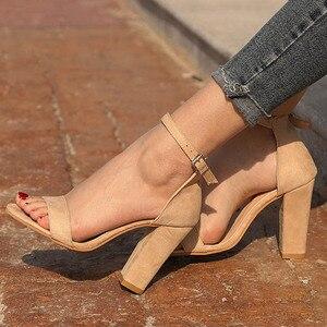 Image 1 - STAN SHARK Summer Women Flock Square Heel Sandals High Heels Buckle Strap Female Woman Dress Sandal Shoes For Girls Plus Size