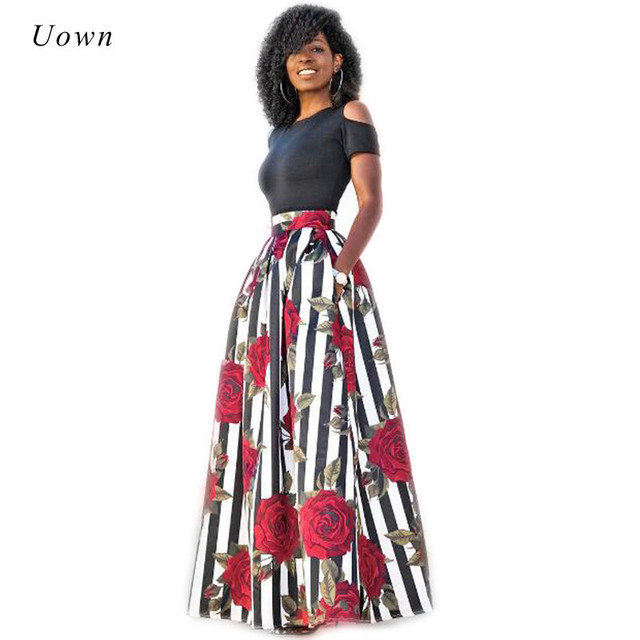 e16aaef686ac0 Plus Size Maxi Dresses Women Traditional African Clothing Fashion Print  Cold Shoulder Long Party Dress Summer Two Piece Dress