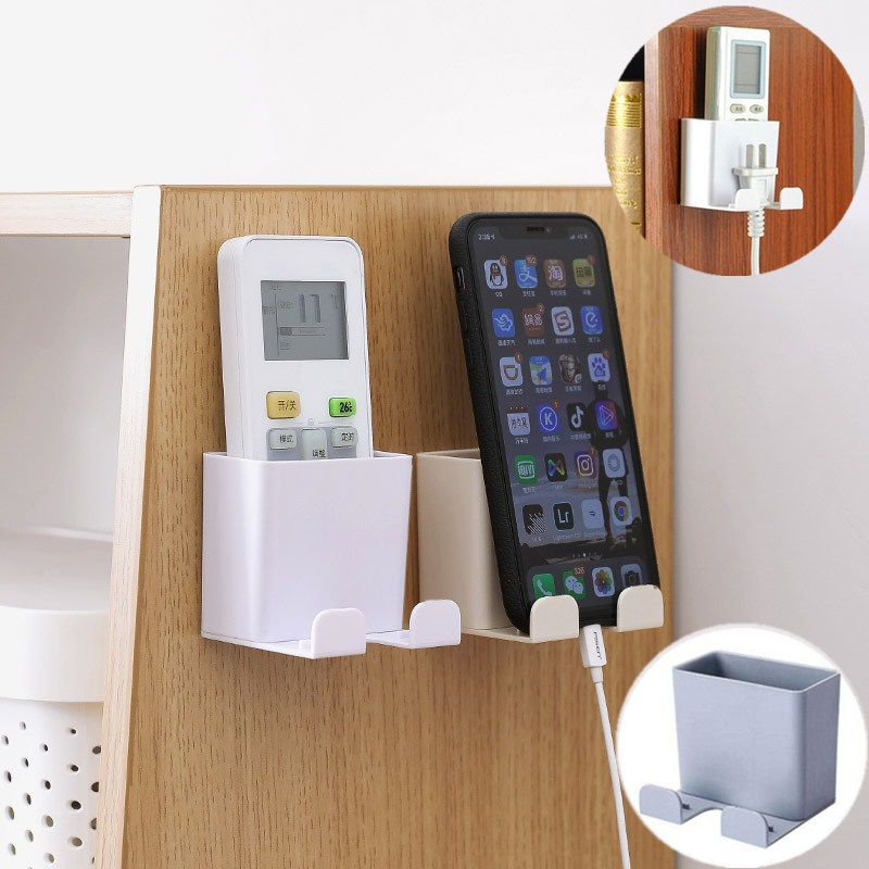 1PC Wall Mounted Organizer Storage Case Mobile Phone Plug <font><b>Holder</b></font> TV <font><b>Air</b></font> <font><b>Conditioner</b></font> <font><b>Remote</b></font> Control Stand Container image