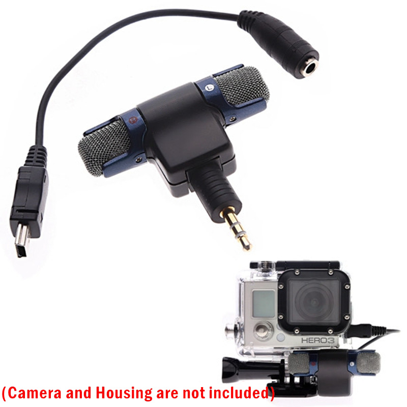 external stereo recording microphone mic with to mini usb adapter cable for gopro hero 3 3. Black Bedroom Furniture Sets. Home Design Ideas