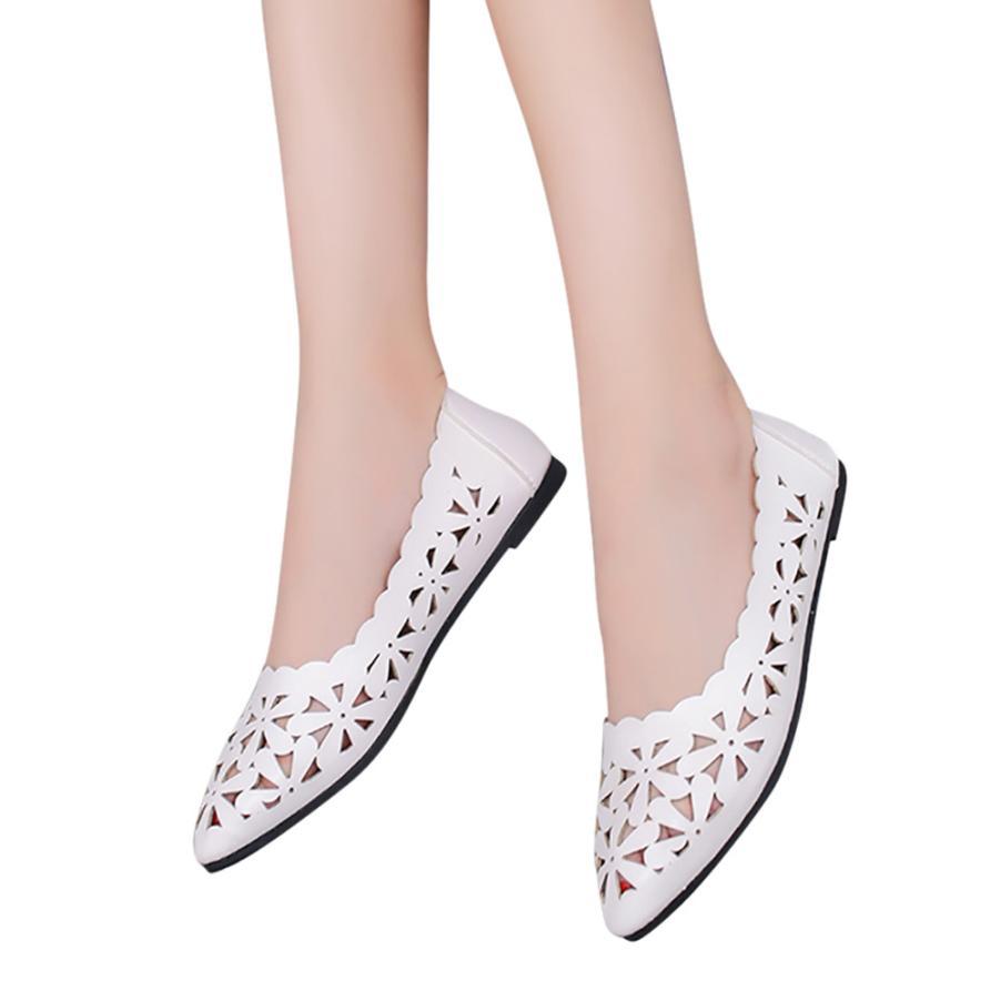Out black Femmes Talon Peu Cut Mode white D'été pink Chaussures Plat Bout Mocassins Beige Forme Ballet Nude À Évider Fleur Profonde Pointu Casual qwq0gRntIr
