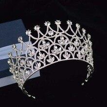 Splendida Sparkling Argento Grande Nozze di Diamante Corone Pageant Diademi Hairband Di Cristallo Da Sposa Per Le Spose Monili Dei Capelli Copricapo