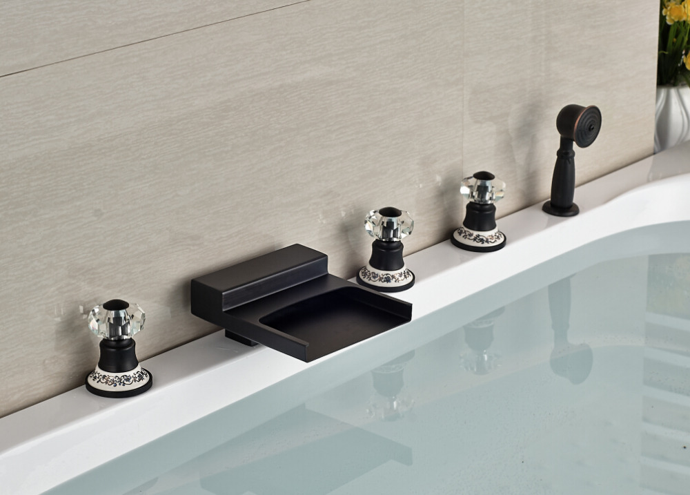 Luxury Blue And White Base Deck Mounted Oil Rubbed Bronze Mixer Tap Bathroom Tub Faucet With Hand Shower Sprayer 5pcs