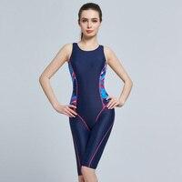 2017 Plus Size Women Swimwear One Piece Long Pants Professional Swimsuit Blue Sports Swimwear Maillot De Bain Femme One Piece
