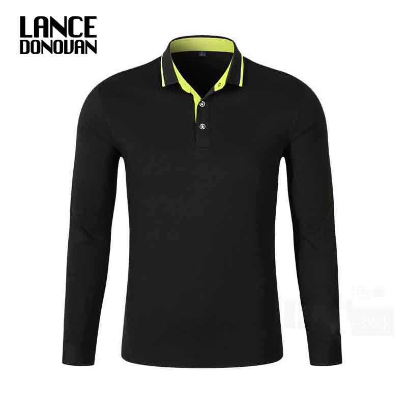 9 Solid Colors New 2017 Spring Autumn Men Polo Shirt Long Sleeve 94% Cotton Good Quality Plus Size XS-3XL