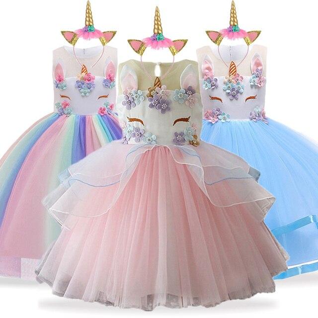 Unicorn Dress Christmas Kids Dresses For Girls Moana Elsa Costume Girls Princess Dress Children Birthday Party Dress fantasia