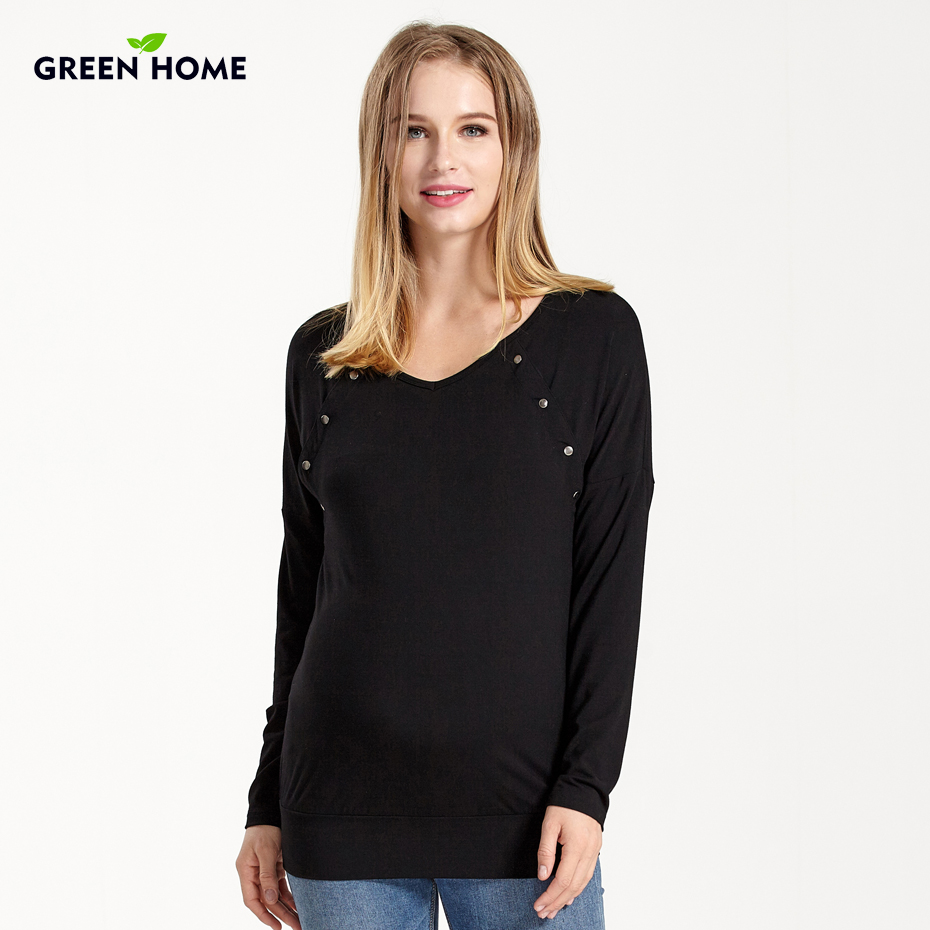 Green Home Winter Breastfeeding Nursing T-shirt Casual 100% Cotton Long Sleeves Clothes For Pregnant Women Maternity Clothes stylish shirt collar long sleeves single breasted jumpsuit for women