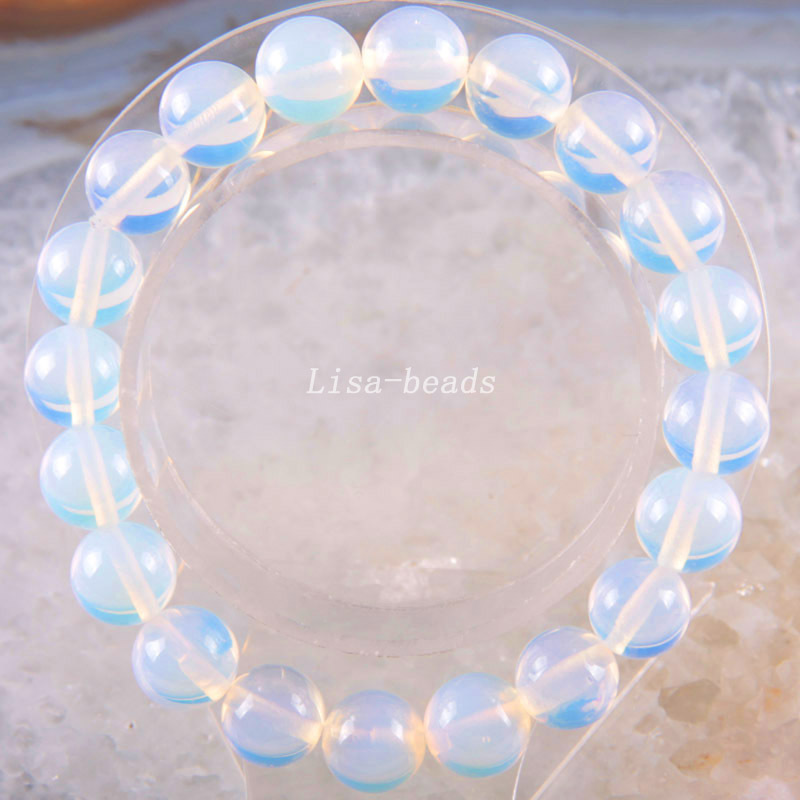 Free Shipping Stretch 10mm Round Beads Natural Stone Light blue Opal Bracelet 8
