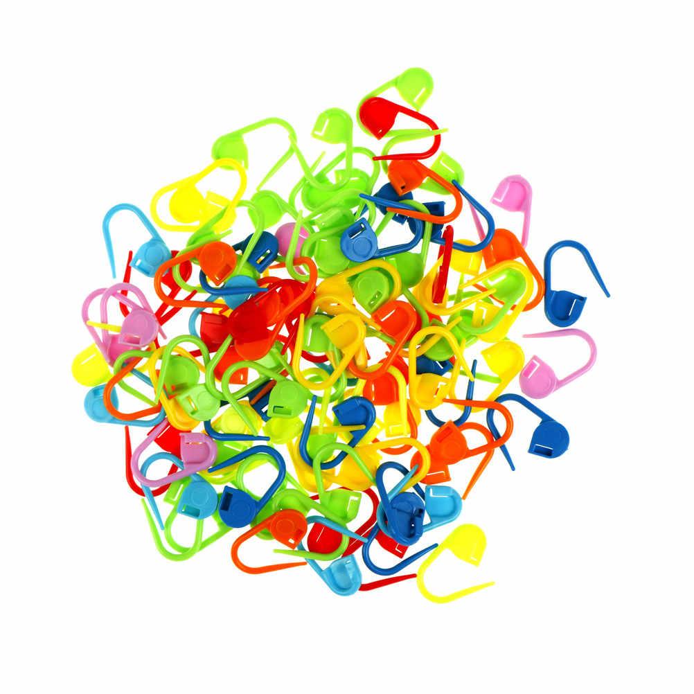100 Pcs/set Plastik Berwarna-warni Jarum Rajut Merenda Pengunci Stitch Marker Merenda Kait Latch Merajut Klip Alat Jahit