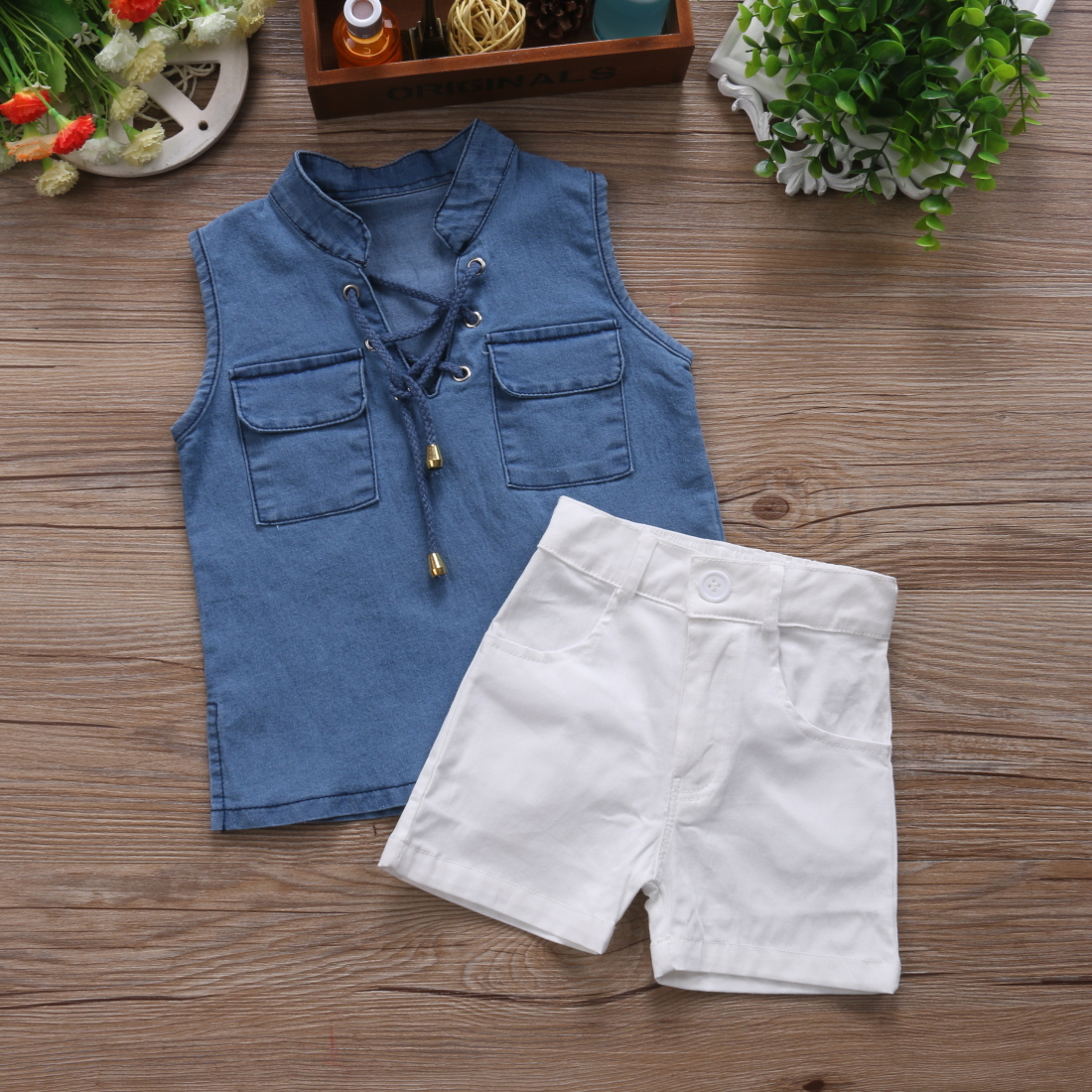 Fashion 2PCS Toddler Kids Baby Girls Summer Outfits Sleeveless Denim T-shirt Tops+Shorts Pants Casual Clothes Set off shoulder tops t shirts denim pants hole jeans 3pcs outfits set clothing fashion baby kids girls clothes sets