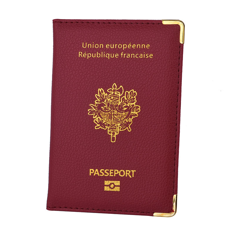 France Passport Cover PU Leather Credit Card Slots Porte-Passeport Housse For Men Women French Passports Organizer For Travel