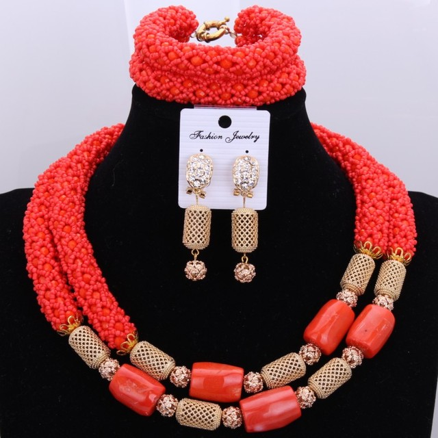 Classic Red Necklace Large Design Jewelry Set Natural Coral Africa Crystal Necklace Jewelry Set New Arrivals Free Shipping