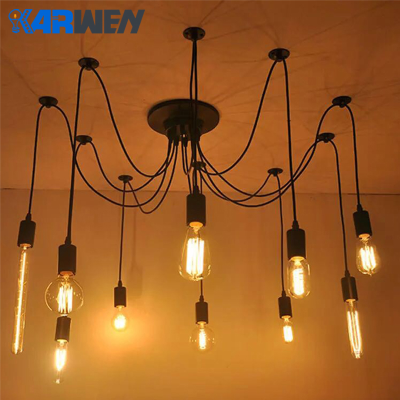 KARWEN Vintage Nordic Spider Chandelier Loft Adjustable E27 Retro Hanging Lamps Loft Edison Industrial Hanging Lamps Length