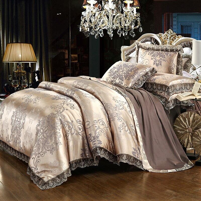 Luxe dentelle jacquard literie bleu beige argent or couleur satin ensemble de literie 4/6 pièces housse de couette drap de lit set38