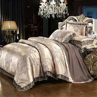 Luxury lace jacquard bedding blue beige silver gold color satin bedding set 4/6pcs duvet cover bed sheet set38