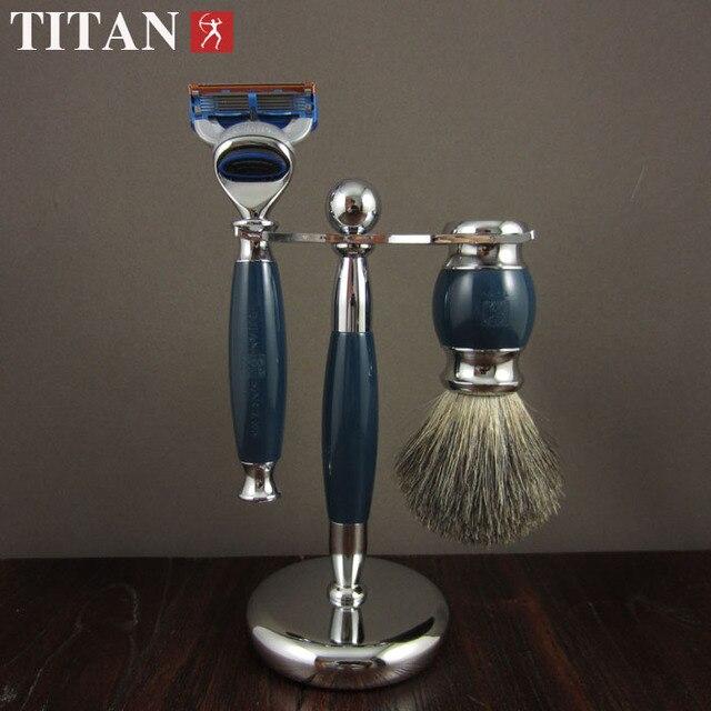 De afeitar razor set con caja de regalo, resina azul mango de la maquinilla, cepillo baber conjunto de afeitar