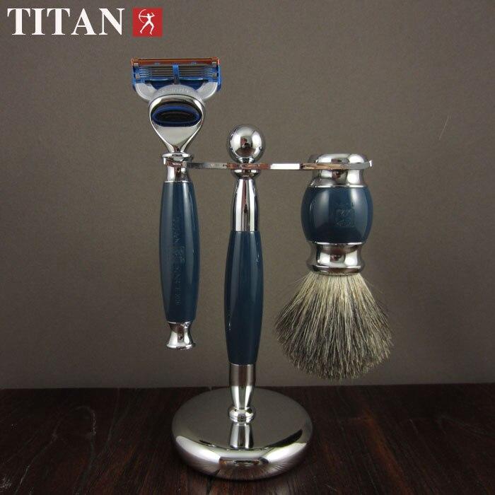 ФОТО shaving razor set with gift box ,blue resin handle razor ,brush   baber razor set