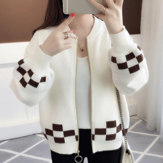 3e67d242d43 Las mujeres suéter chaqueta cremallera 2019 nuevo Otoño e Invierno mujer de punto  abrigo estudiante estilo