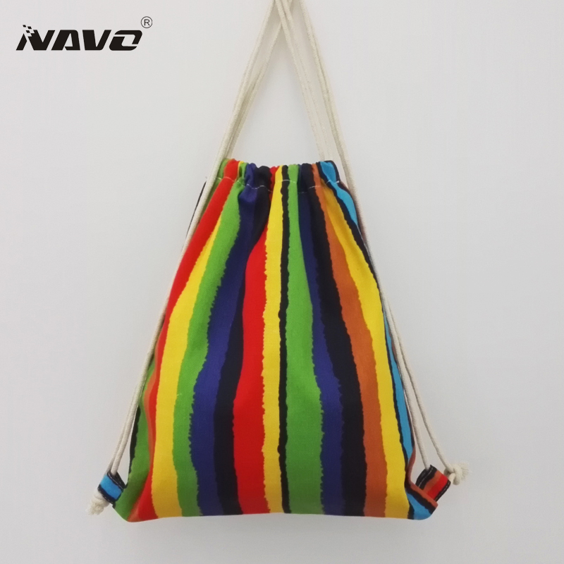 NAVO canvas drawstring bag 2 layer cotton draw string striped backpack cute fresh back pack girls backpacks summer sac a dos