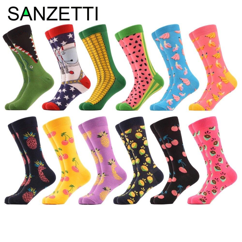 SANZETTI 12 pair/lot Novelty Mens Cherry Pineapple Kangaroo Pattern Male Cotton Colorful Socks Breathable Crew Funny Socks Gift