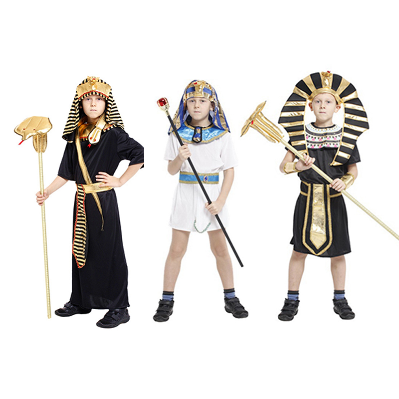 Free shipping Kids Egypt Pharaoh cosplay costume Halloween Full Set Cosplay Party Dress for Children, boys Prince costume