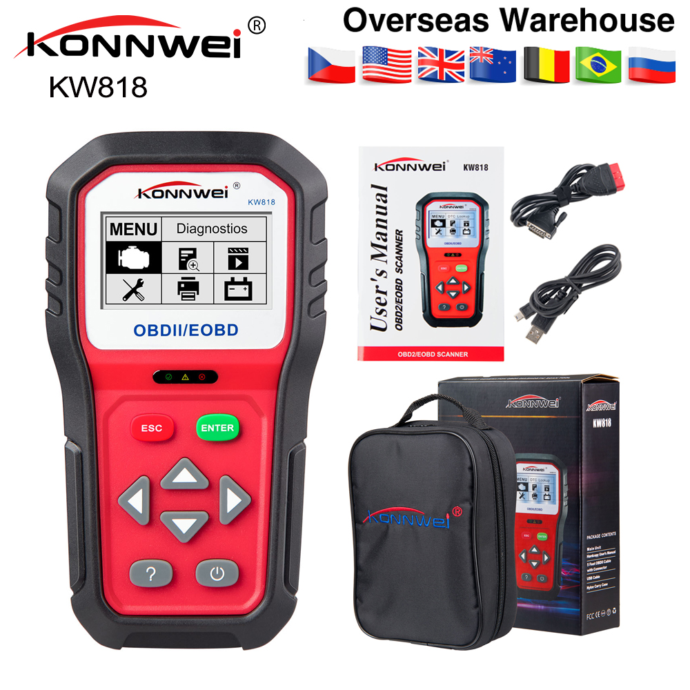 KONNWEI KW818 Enhanced OBDII ODB 2 Car Diagnostic Scanner 12V Battery Tester Check Engine Engine Automotive Code Reader Tool(China)